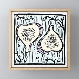 Fig Twins - linoprint Framed Mini Art Print