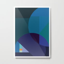 Coastal Nights - Blue Abstract byBrije Metal Print
