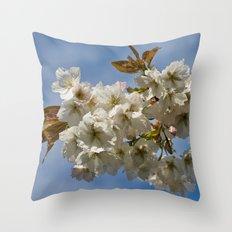 White Cherry Blossom Throw Pillow