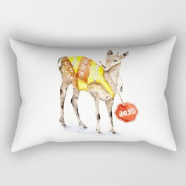 Traffic Controller Deer in High Visibility Vest Rectangular Pillow