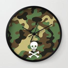 CAMO & WHITE SKULL Wall Clock