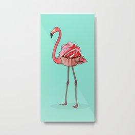 Flamingo Cupcake Metal Print