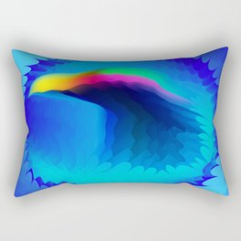 The emblem of an eagle bird head in motion blur. Medal with the image of an eagle on a blue backgrou Rectangular Pillow