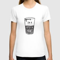 glass half full of emptiness Womens Fitted Tee White LARGE