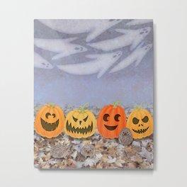 halloween hedgehogs, pumpkins, and ghost clouds Metal Print