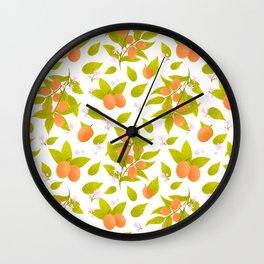 Kumquat botanical pattern Wall Clock