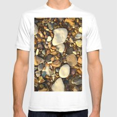 Beach Pebbles Mens Fitted Tee MEDIUM White