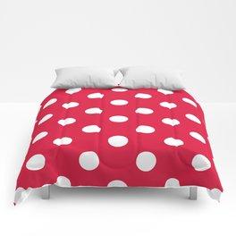 Polka Dots - White on Crimson Red Comforters
