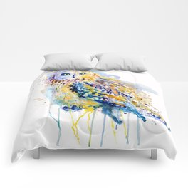 Short Eared Owl Watercolor painting Comforters