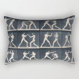 Time Lapse Motion Study Men Kick Boxing Rectangular Pillow