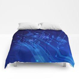 Black blue IT pattern Comforters