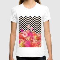 robin T-shirts featuring Chevron Flora II by Bianca Green
