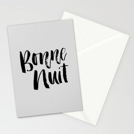Bonne Nuit Bedroom Wall Decor in black and gray typography inspirational motivational home decor Stationery Cards