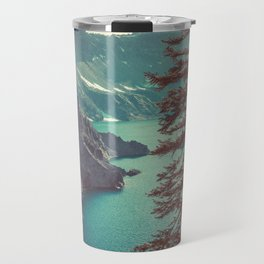 Vintage Blue Crater Lake and Trees - Nature Photography Travel Mug
