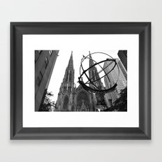 Atlas Statue and St. Patrick's (Black and White) Framed Art Print