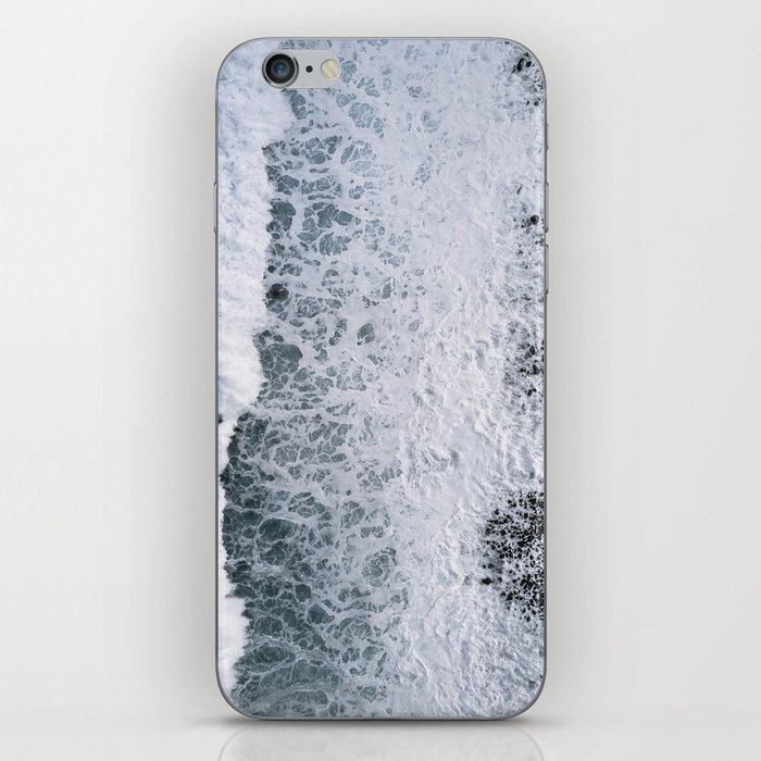Aerial of a Black Sand Beach with Waves - Oceanscape iPhone Skin