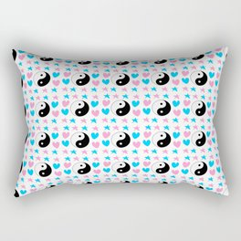 Tao, hearts and stars-sky,hope,spangled,love,romantic,tao,taoism,yin,yang,romantism,pointed Rectangular Pillow