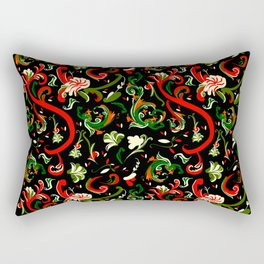 Swirly Trendy_Black Rectangular Pillow