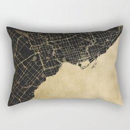 Toronto Gold and Black Street Map Rectangular Pillow