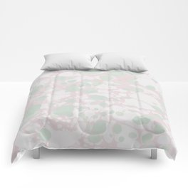 Pastel Paint Spill Pattern Green, Pink, White Comforters