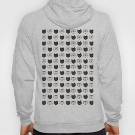 Cute cat pattern in funny french style in black and white colors Hoody