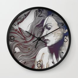 Monument: Red & Blue (sleeping beauty, woman with skyline tattoo and bird) Wall Clock