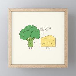 Broccoli and cheese Framed Mini Art Print