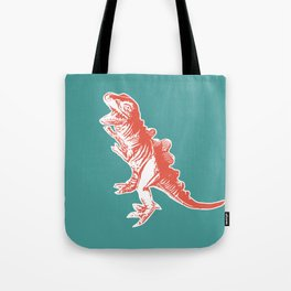 Dino Pop Art - T-Rex - Teal & Dark Orange Tote Bag
