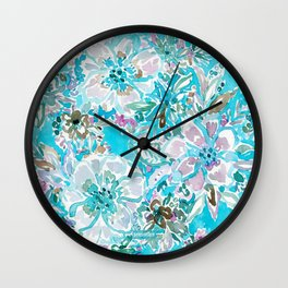 BEACH BABE Aqua Watercolor Floral Wall Clock