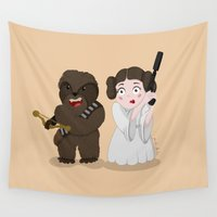 chewbacca Wall Tapestries featuring Chewbacca Princess Leia by Paula Benítez