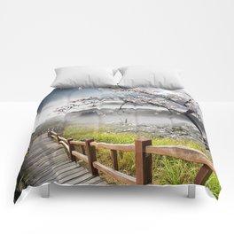 Japanese Cherry Landscape Comforters