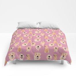 Golden Retrievers on Pink Comforters