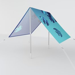 Nine Blue Fish with Patterns Sun Shade