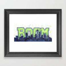 Seattle Legion of Boom Space Needle Skyline Watercolor Framed Art Print