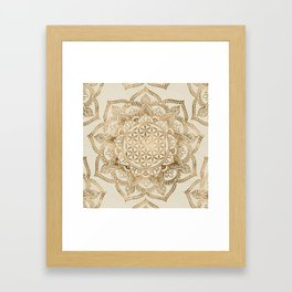 Flower of Life in Lotus - pastel golds and canvas Framed Art Print