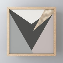 Abstract geometrical faux gold black gray triangles pattern Framed Mini Art Print