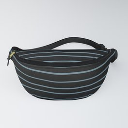 Inspired by Behr Blueprint Blue S470-5 Hand Drawn Horizontal Lines on Black Fanny Pack