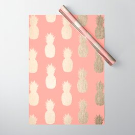 Gold Pineapples on Coral Pink Wrapping Paper