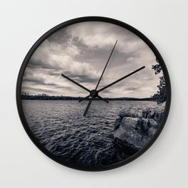 Black and White Boundary Waters Lake Wall Clock