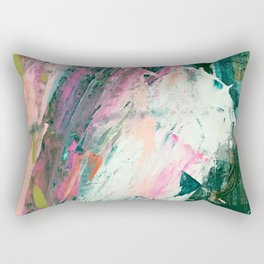 Meditate [2]: a vibrant, colorful abstract piece in bright green, teal, pink, orange, and white Rectangular Pillow