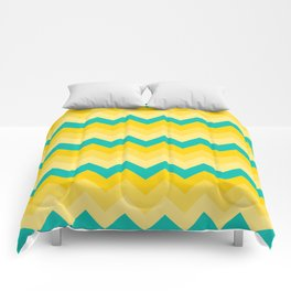 Turquoise and Yellow Chevrons Pattern Comforters