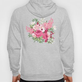 Cottage Chic Pink and Red Roses on Turquoise Linen Hoody