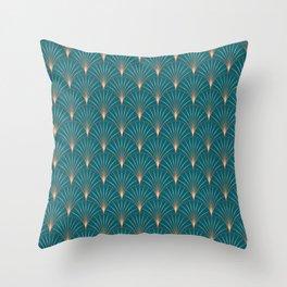 Copper Metallic Palm Leaf Art Deco Style Throw Pillow