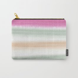 Watercolor Stripe Pink, Green, Peach Carry-All Pouch