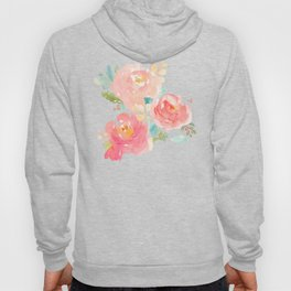 Watercolor Peonies Summer Bouquet Hoody