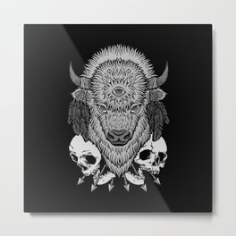 Wild Bison BW Metal Print
