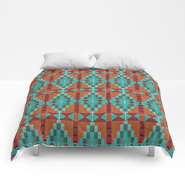 Orange Red Aqua Turquoise Teal Native Mosaic Pattern Comforters