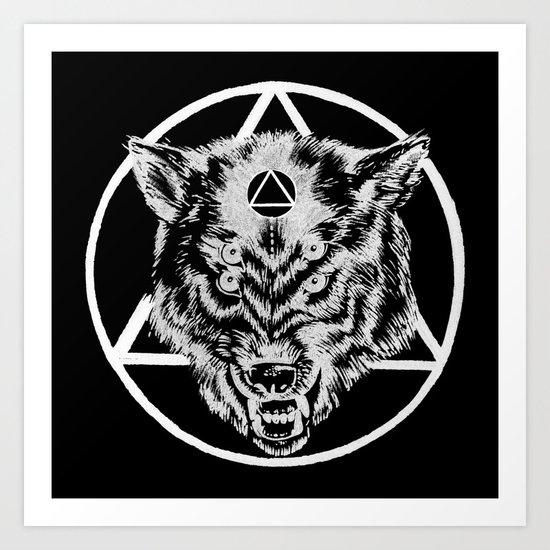 Staring wolf Art Print