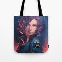 meme Tote Bags featuring MEME 015 Black Widow by mushroomtale