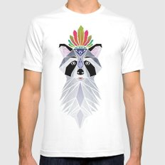 raccoon spirit White Mens Fitted Tee SMALL